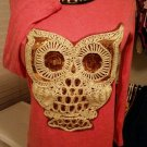 Women's Sequin Owl Shirt - Size Small - Color: Watermelon