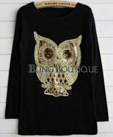 Women's Sequin Owl Shirt - Size Small - Color: Black