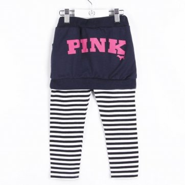 Pink Brand Size 6 Girls striped legging pants with skirt