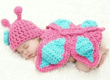 Baby Crochet Butterfly Photo Prop Outfit - Size 0-9 mo