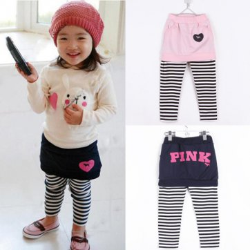 Pink Brand Size 4 Girls Pink striped legging pants with skirt