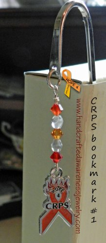 CRPS, RSD, Orange, Ribbon, Awareness, Metal, Bookmarks