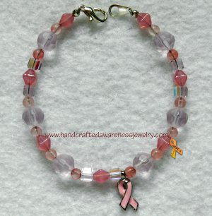 Pink, Ribbon, Breast Cancer, Awareness, Crystal, Bracelet;  item# PRCB