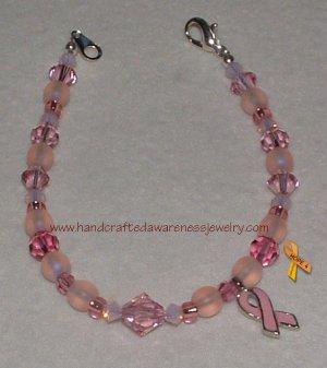 Pink, Breast Cancer, Ribbon, Awareness, Swarovski, Bracelet;  item# SPB
