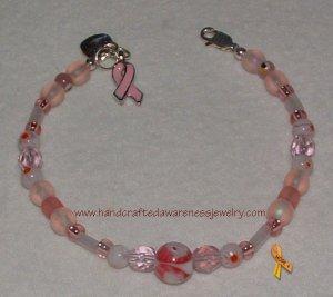 Pink, Breast Cancer, Ribbon, Awareness, Millifiori Bead, Bracelet;  item# PMB
