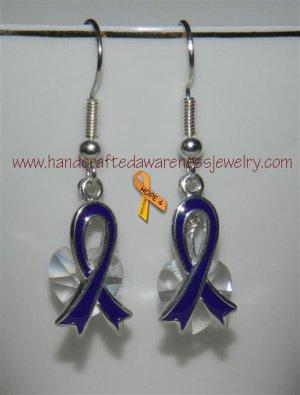 Purple, Fibromyalgia, Ribbon, Awareness, Swarovski, Heart, Earrings;  item# PRSHE