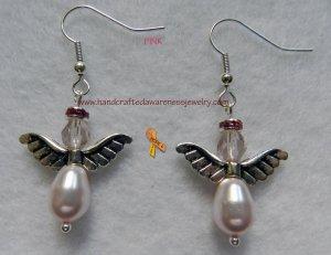 Pink, Breast Cancer, Ribbon, Awareness, Guardian Angel, Earrings item# GAEP