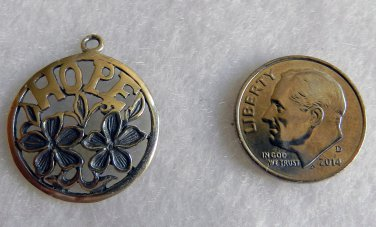 Sterling Silver, Hope, Flowered, Round, Pendant