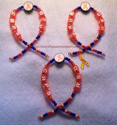 CRPS, RSD, Orange, Ribbon, Awareness Ornaments; set of 3