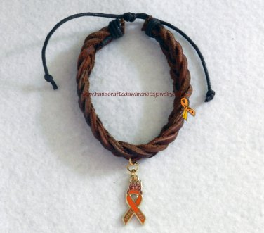 CRPS, RSD, Orange, Awareness, Brown, Leather, Bracelet