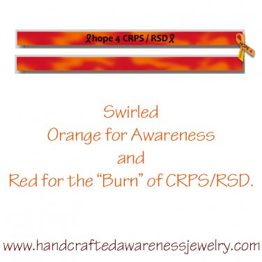 CRPS, RSD, Orange, Ribbon, Awareness, Silicone, Debossed Wristband