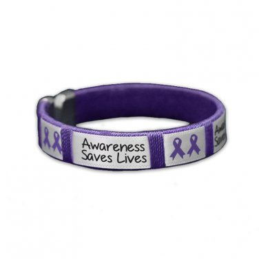 Purple Ribbon Awareness, Awareness Saves Lives, Fabric Bangle Bracelet