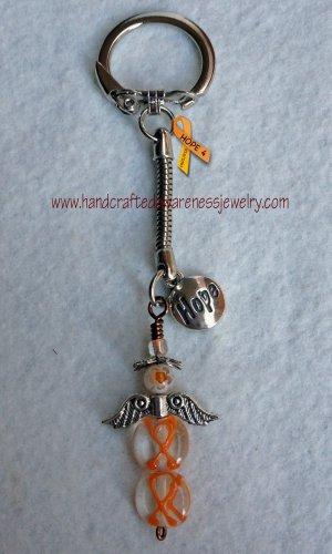 Orange, CRPS, RSD, MS, Awareness, Guardian Angel, Hope, Key Chain