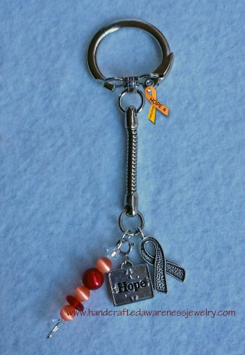 Silver Plated Awareness Ribbon, Hope, Red, Orange, Key Chain