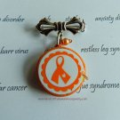 Orange Ribbon Awareness, CRPS, RSD, M.S., COPD, Leukemia, Lupus, Ceramic Pendant, Pin
