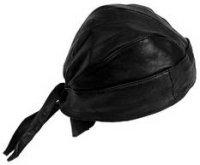 Black Leather Skull Cap