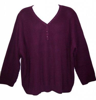 Roaman's 4X Boysenberry Henley Long Sleeve Shaker Knit Sweater-New