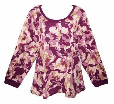 Roaman's 4X Boysenberry Camo Print Long Sleeve Thermal Top