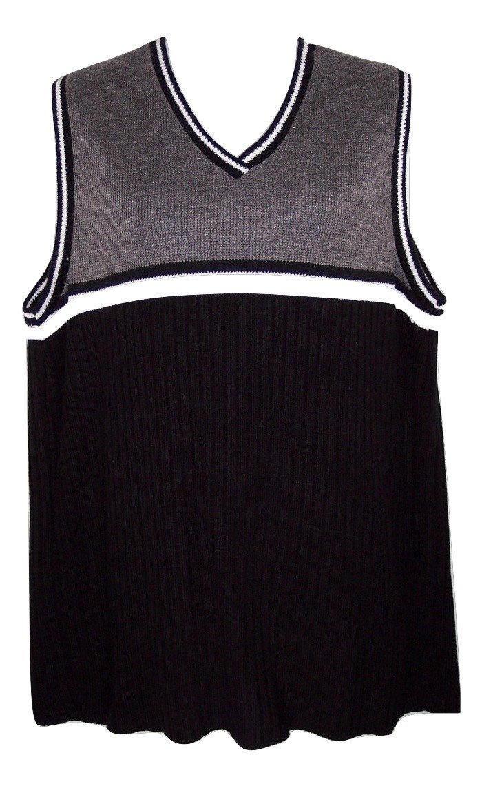 Pre-owned Lea Apparel 1X Black Gray & White Tunic Sweater Vest Top