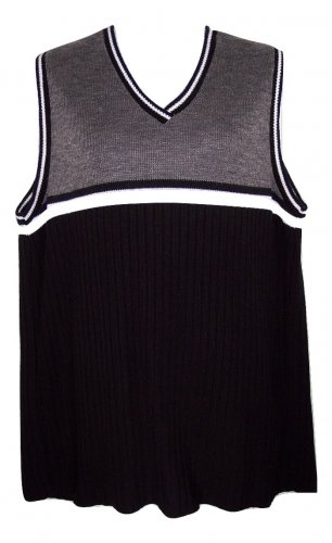 Pre-owned Lea Apparel 1X Black Gray & White Tunic Sweater Vest Top