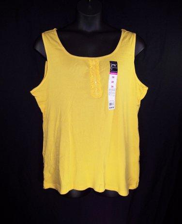 Just My Size 3X-22W/24W Citron Yellow Rib Knit Tank Top-New