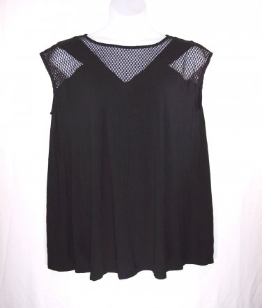 Catherines 4X Black Mesh Neckline & Sleeves A-line Tunic Top