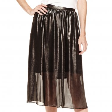 Worthington 18W Grayish Black Shimmer Sheer Lined Skirt