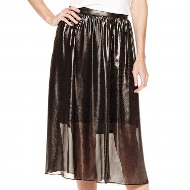 Worthington 20W Grayish Black Shimmer Sheer Lined Skirt