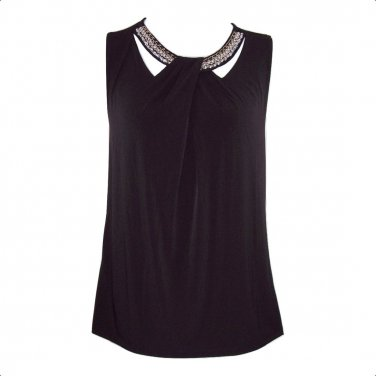 Nine West 3X Black Embellished Cutout Twist Front Tank Top-New
