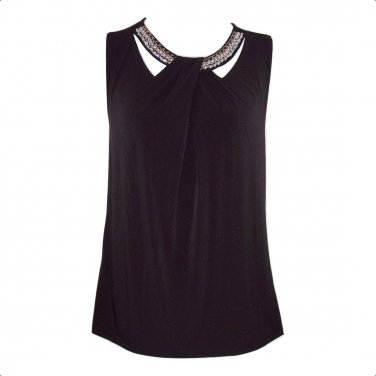 Nine West 2X Black Embellished Cutout Twist Front Tank Top-New