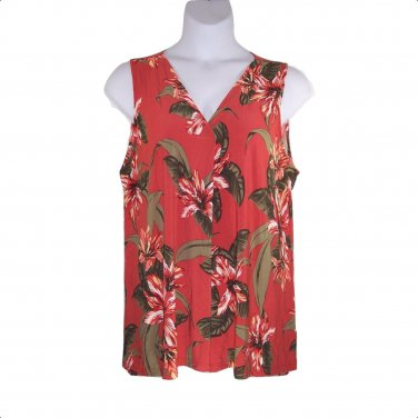 Dressbarn 1X Dark Orange Tropical Print Tank Top