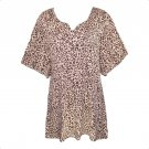 Roaman's 6X New Khaki Animal Print Notch Neck Tunic Top Blouse-New