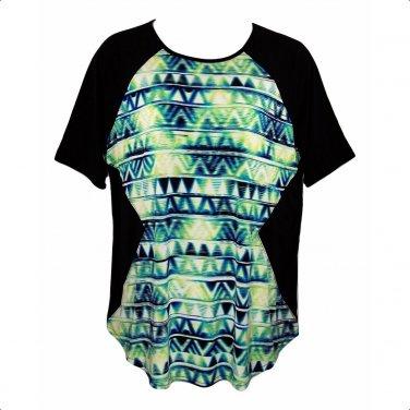 Worthington 1X Geometric Print Short Sleeve Top