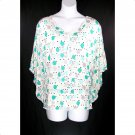 Lane Bryant 18/20 Green Dots Dropped Waist Batwing Sleeves Top-New