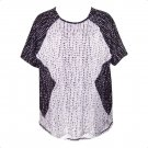 Worthington 1X Black & White Diamond Print Short Sleeve Top