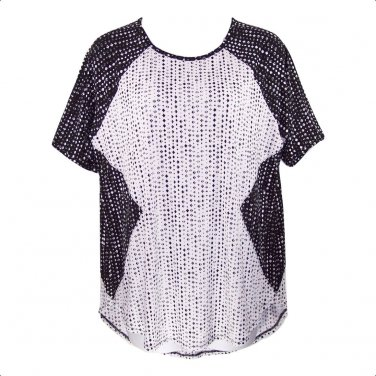 Worthington 1X Black & White Diamond Print Short Sleeve Top