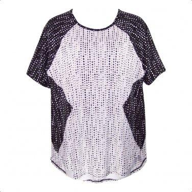 Worthington 2X Black & White Diamond Print Short Sleeve Top