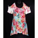 Yummy Plus 1X Floral Sublimation Cold Shoulder Shark Bite Top-New