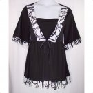 Yummy Plus 1X Black & White Empire Short Sleeve Top-New