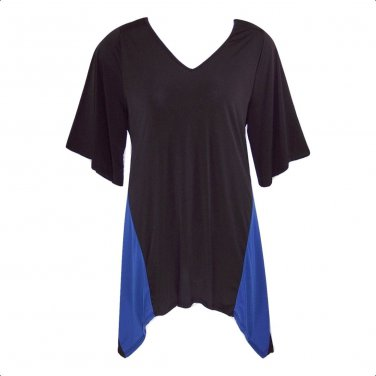 Yummy Plus 3X Black & Blue Shark Bite Angel Sleeve Tunic Top-New