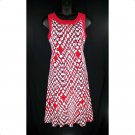 Dressbarn 16W Red Black White Fit & Flare Tank Dress-New