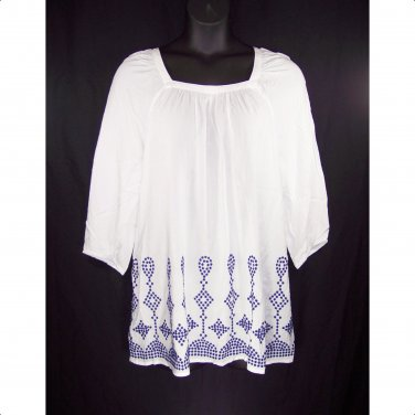 St. John's Bay 2X White 3/4 Sleeve Embroidered Peasant Tunic Top