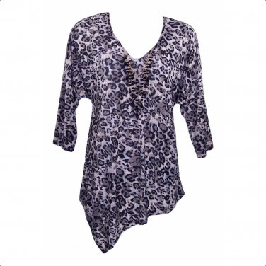 Betsy Boo for Yummy Plus 2X Animal Print Asymmetrical Hem Top