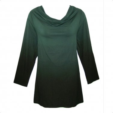 Catherines 1X-18/20W Hunter Green & Black Ombre Drape Neck Top
