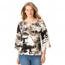 ESSENTIALS by Milano 3X Crepe Cold Shoulder 3/4 Sleeve Top Blouse-New