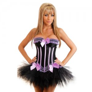 Free shipping Violet Stripes Corset&Black Pettiskirt Sexy underwear SIZE L