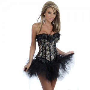 Free shipping Black Stripes Panther Paint Corset & Pettiskirt Sexy underwear SIZE XX L