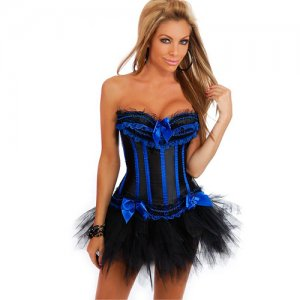 Free shipping Blue Stripes Corset&Black Pettiskirt Sexy underwear SIZE XL