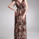 New Bohemian Lady Women's Summer Wear Double V-Open Nipped-Waist Leopard Longuette Dress 2012