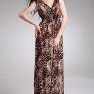 New Bohemian Lady Women's Summer Wear Double V-Open Nipped-Waist Leopard Longuette Dress 2012